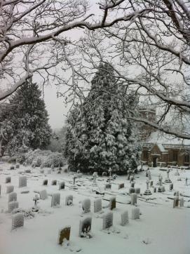 snow churchyard